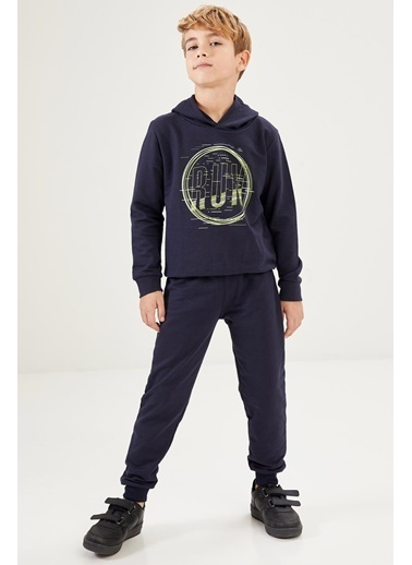 Defacto –Fit Erkek Çocuk Baskılı Sweatshirt ve Eşofman Takım Lacivert